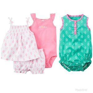 CARTER'S Baby Girl Romper Dress Set Neon Pink Aqua
